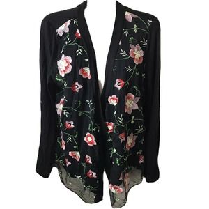 Cha Cha Vente Embroidered Open Front Cardigan